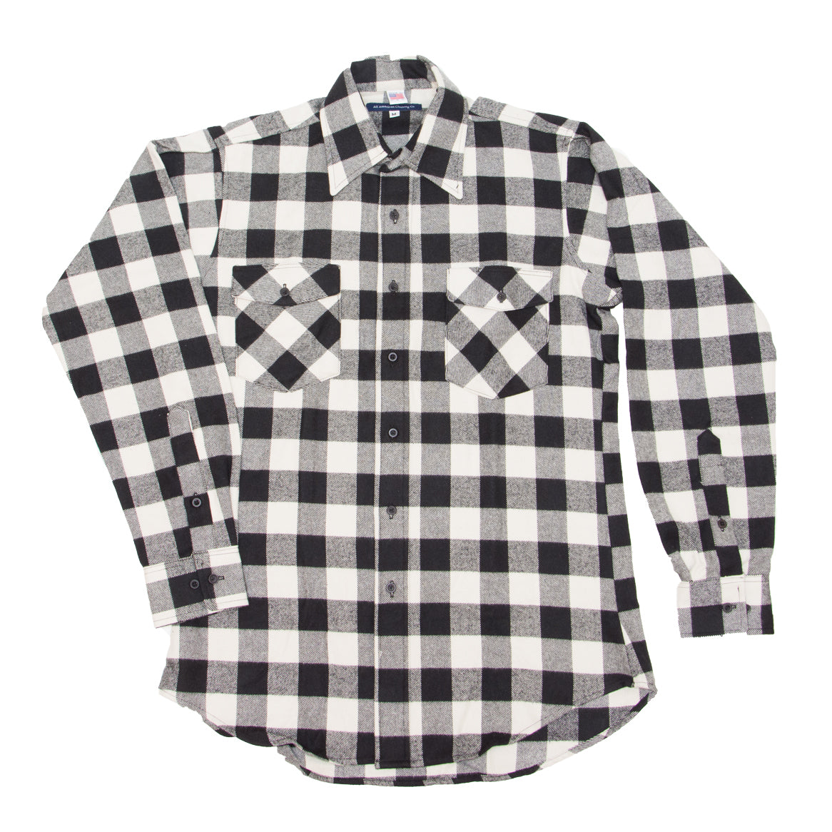 White and Black Buffalo Plaid Long Sleeve Flannel