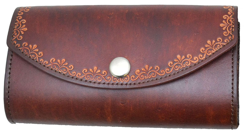Tooled Ladies Leather Organizer Wallet