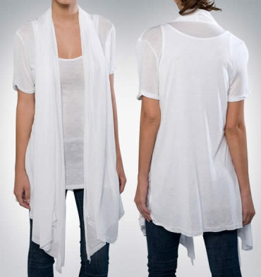 1. Drape Front Cardigan Made in USA
