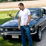 bj in front of mustang