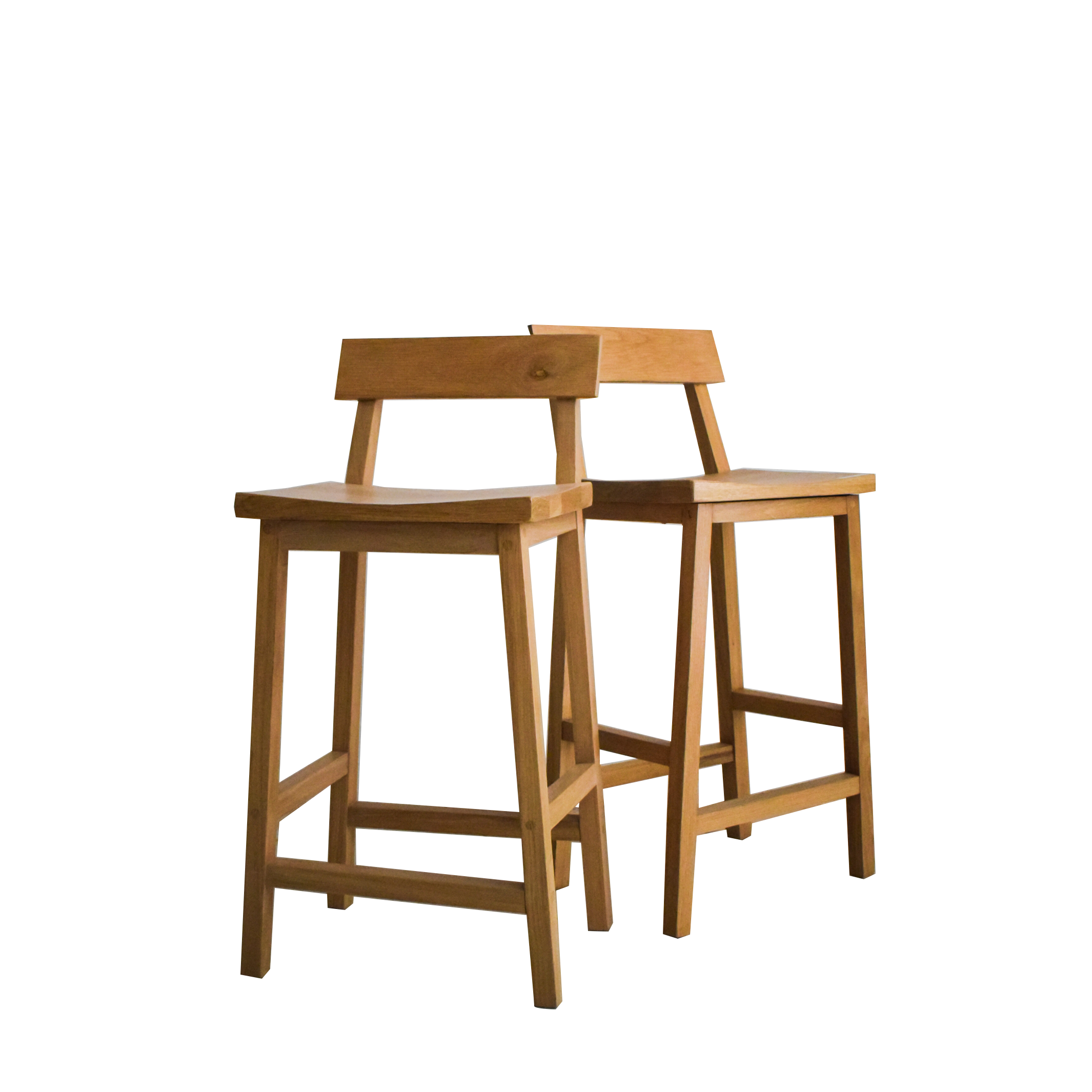 Solid Oak Stool with Back