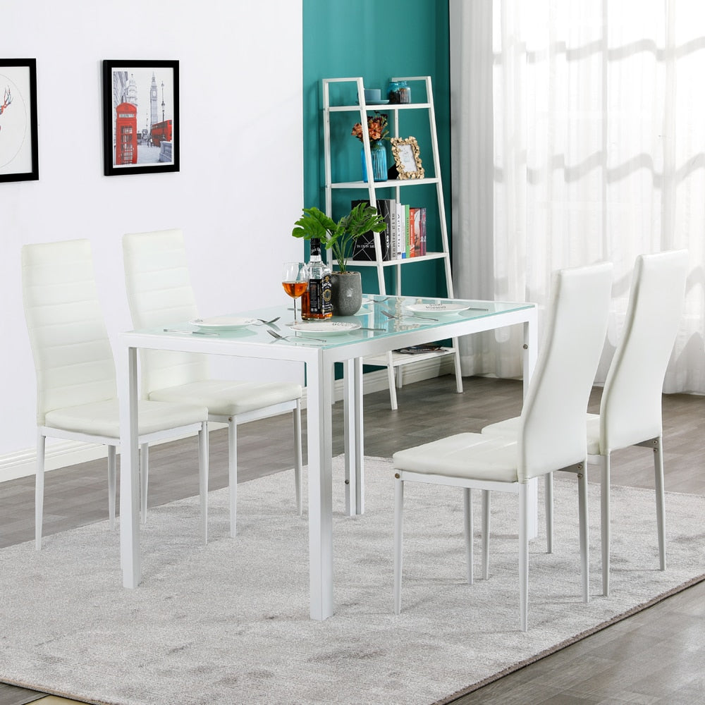 5 Piece Dining Table Set, Glass Table and 4 Leather Chair for Kitchen Dining, White