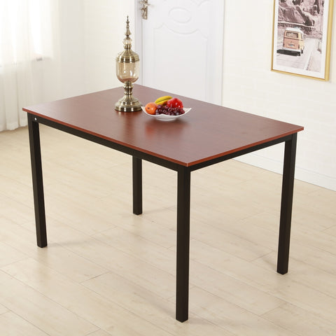 Simplistic Iron Frame Dining Table Teak Color