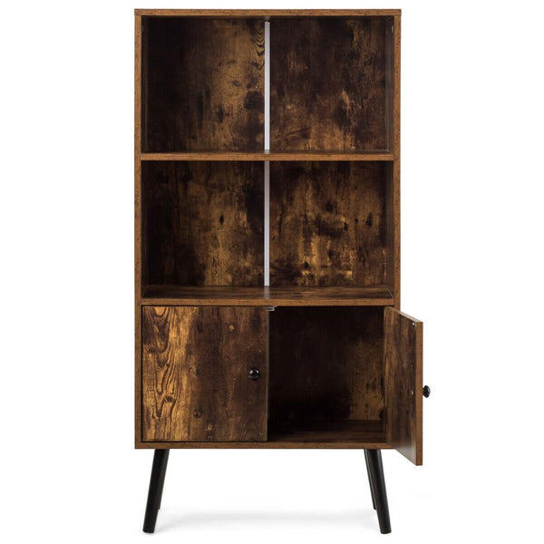 2 Tier Retro Bookcase Bookshelf, with 3 Compartment & 2 Doors Cabinet
