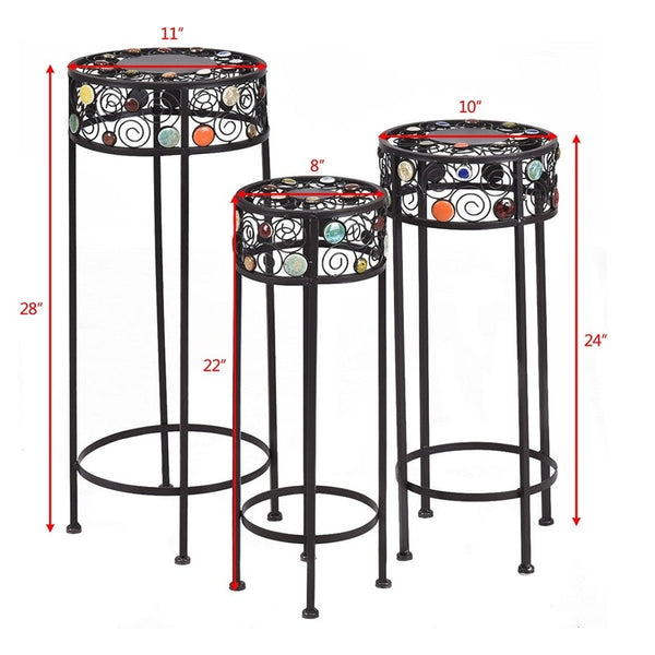 3 pcs Round Display Ceramic Beads Metal Plant Stand
