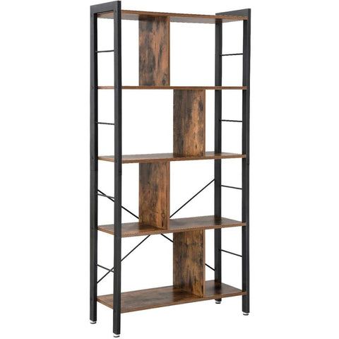 4 Tier Industrial Bookshelf Storage Rack , Stable Steel Frame, Rustic Brown