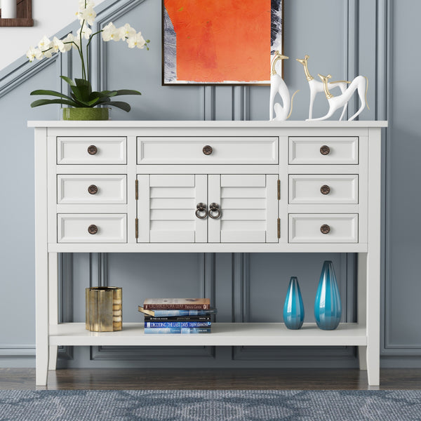 Modern Console Table with 7 Drawers, 1 Cabinet, 1 Shelf
