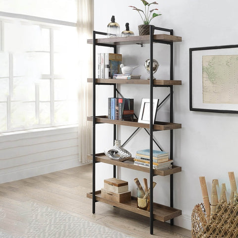 5 Tiers Etagere Bookcase, Plant Flower Stand, Wood Storage Shelf