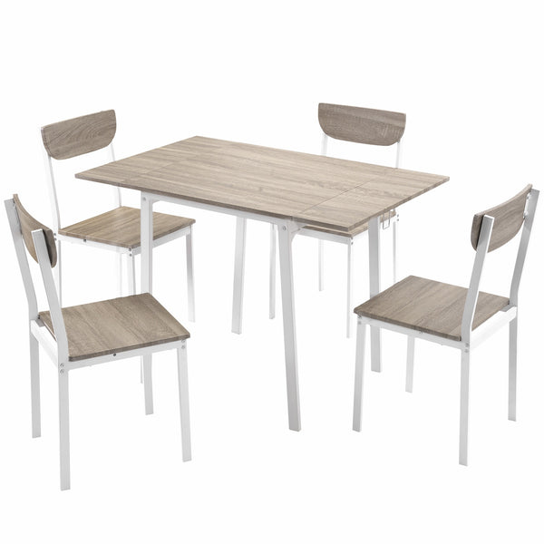 5 piece Modern Metal Dining Set, Adjustable Dining Table And 4 Chairs