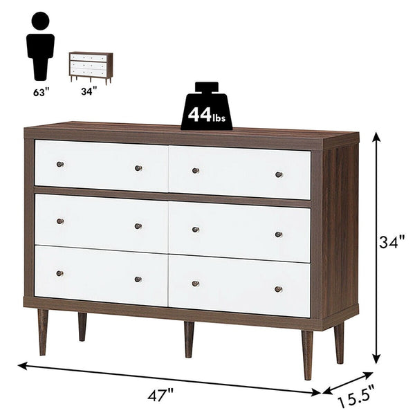 Costway 6 Drawer Wood Chest of Drawers Storage, Freestanding Cabinet Organizer, Simple Combination Walnut White Bedroom Dresser