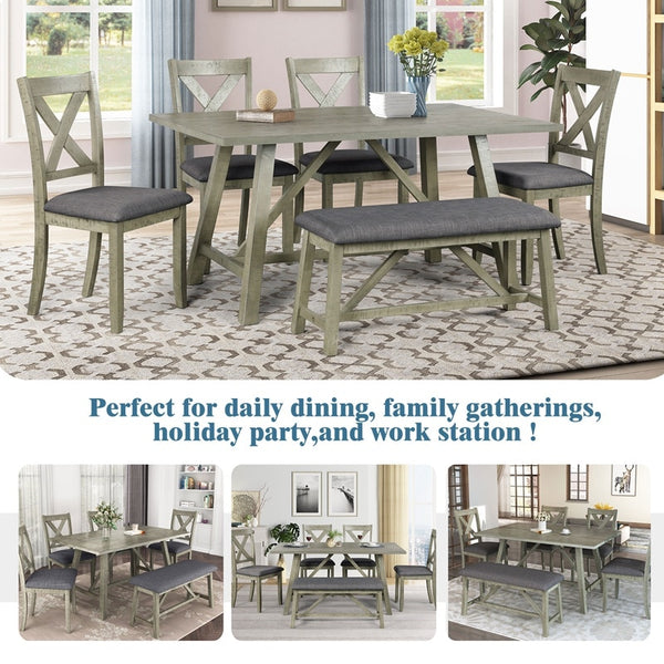 6 Piece Dining Table Set, Wood Dining Table and Chair Kitchen Table Set, Bench and 4 Chairs