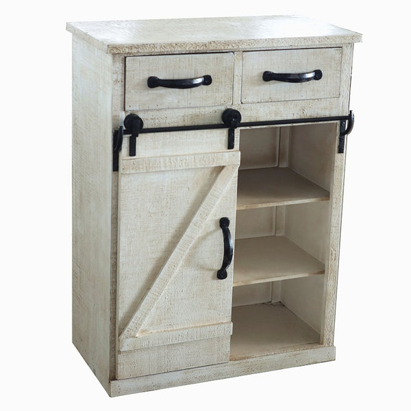 Classic Vintage Style White Country Style Single Barn Door with 2 Drawers