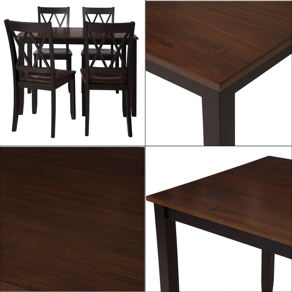 Classical 5 Piece Dining Table Set, Kitchen Table and Chairs Wood Dining Set