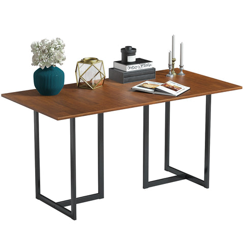 Costway 60'' Console Dining Table Rectangular Kitchen Table w/ Metal Frame and Wood Top
