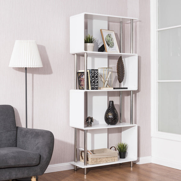 Giantex Industrial Style, 4 Shelf Modern Bookcase, Living Room Storage Display Unit Bookshelf
