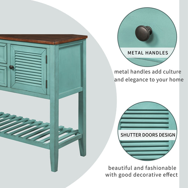 Retro Console Table, with Shutter Doors , Two Storage Drawers and Bottom Shelf