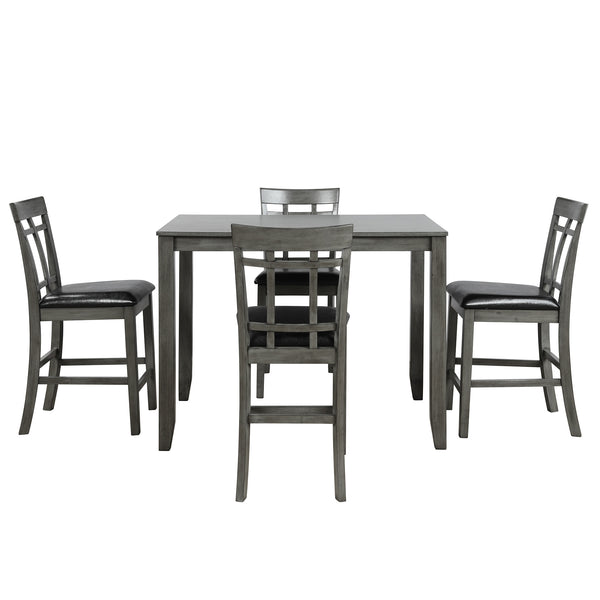 Kitchen Chair 5 Piece Vintage Rectangular Dining Furnitures Bar Table with 4 chairs Wood Dining Table Chair Set for Dining Room|Dining Room Sets|