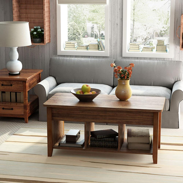 Lift Top Coffee Table, With Storage & Open Shelf