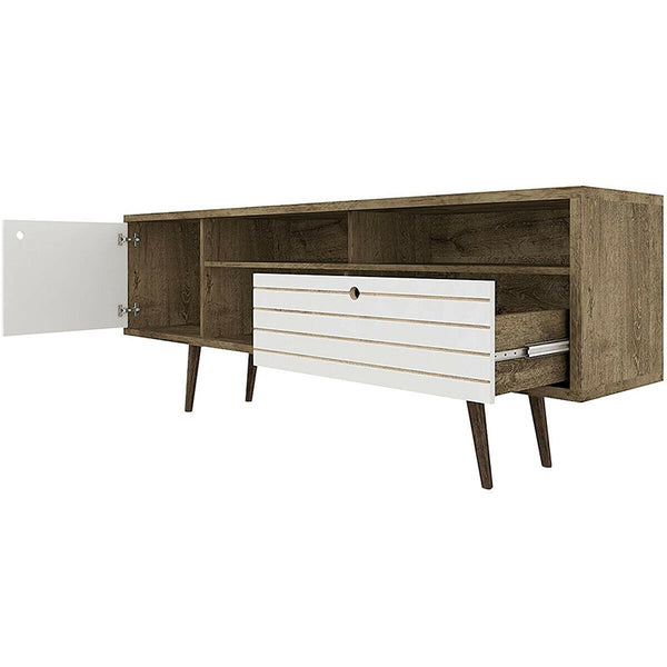 Modern Spacious TV Stand, with 3 Open Shelves Storage Drawer, Durable High Quality Wood