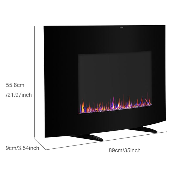 Cambrio Wall Hanging Fireplace with Small Remote Control Single Color Fake Wood Heating