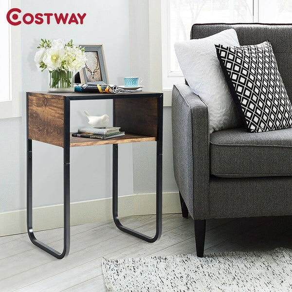 Retro Industrial Side Table, Sturdy Rustic Metal Frame Premium MDF Open Storage Space