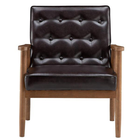 Retro Modern Wooden Single Chair, Brown Walnut Color
