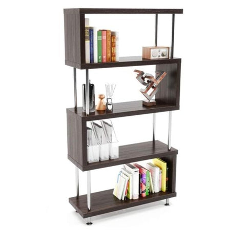 S/Z Shaped Bookcase, 5 Tier Storage Rack, Wood Vintage Industrial Book Display, Etagere