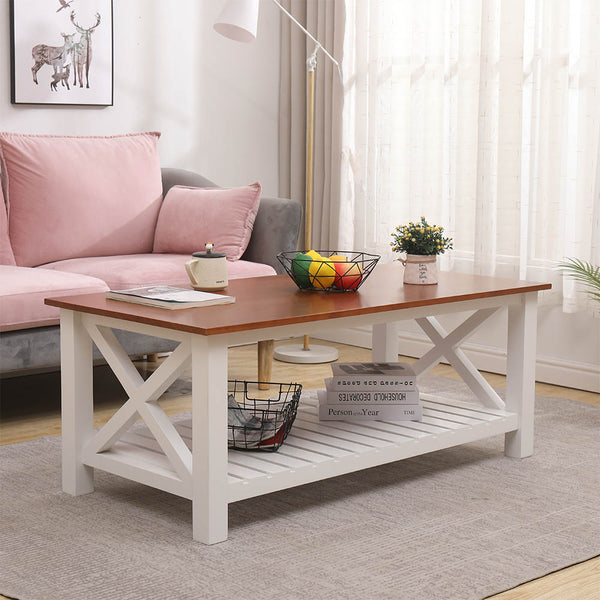 Solid Wood Table, Rustic Vintage Antique Design, with Shelf , Coffee Table