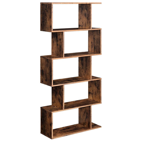 Staggered Bookcase, Wooden Industrial Style 5 Tier Display Rack , Vintage Style