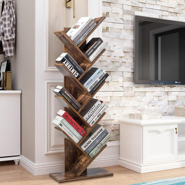 Tree Bookshelf, 8 Tier Bookcase, Free Standing Book Rack Display Stand