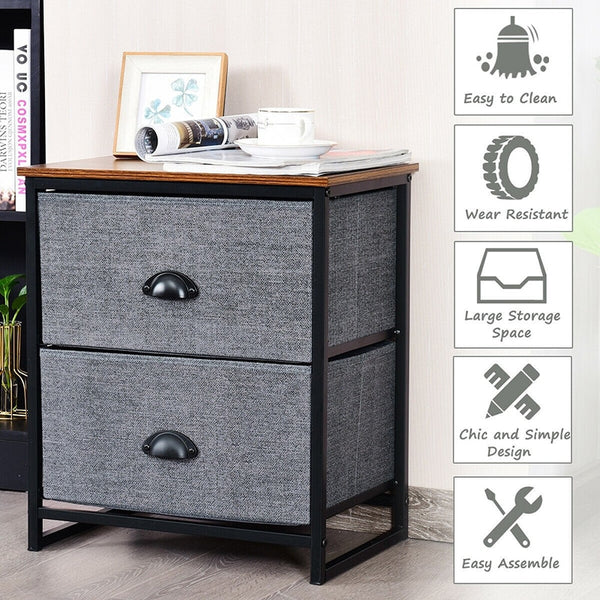 Versatile Utility Side Table, Sturdy Steel Frame Storage, Soft Non woven Fabric 2 Drawers Storage Cabinet