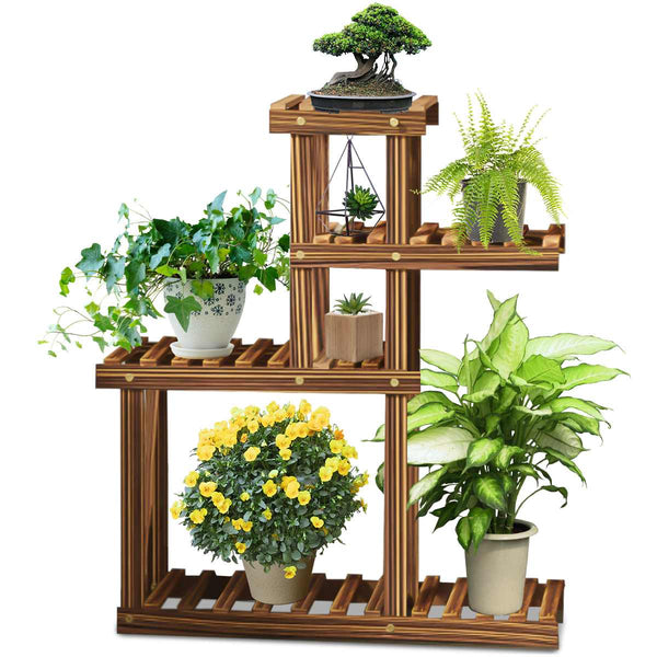 Windmill Wooden Plant Stand, Flower pot stand, Storage Rack Plant Holder