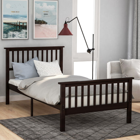 Wood Platform Bed with Headboard and Footboard, Twin Size Bed