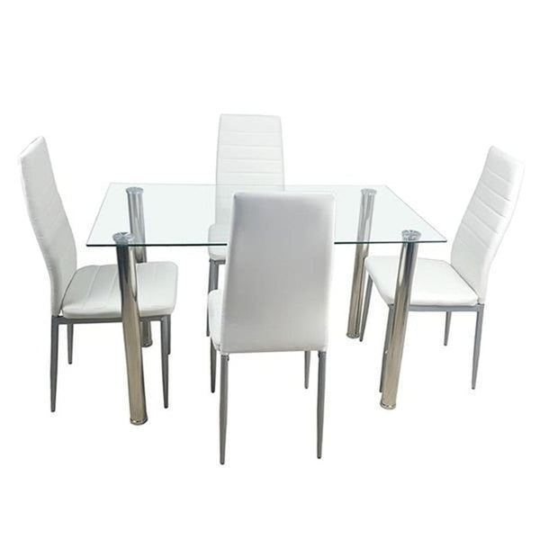 Dining Table Set, Tempered Glass Dining Table with 4 pcs Chairs