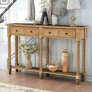 Console Table, with Two Storage Drawers, Bottom Shelf
