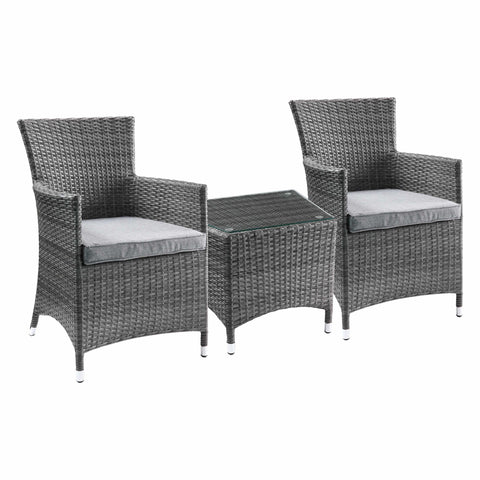 3Pc Wicker Bistro Set - Outdoor Table and Chairs