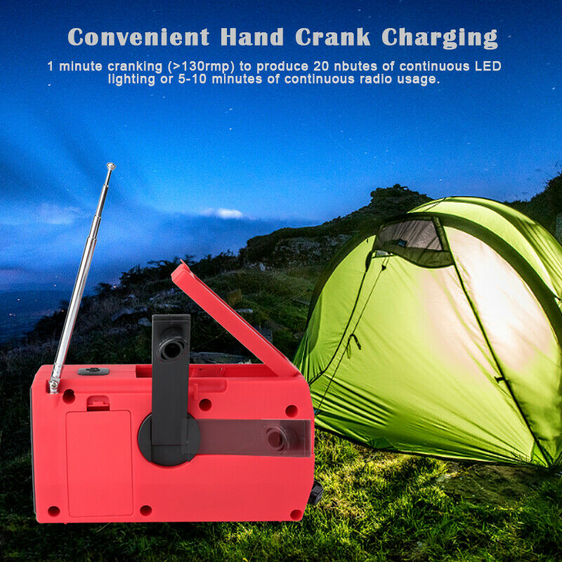 Emergency Radio Solar Hand Crank with Weather AM/FM LED Flashlight SOS