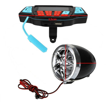 Motorcycle Handlebar Speakers Amplifier FM Stereo Alarm MP3 Bluetooth