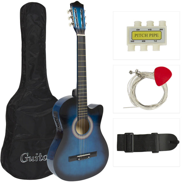 Acoustic Electric Guitar Cutaway Design With Guitar Case and Equalizer