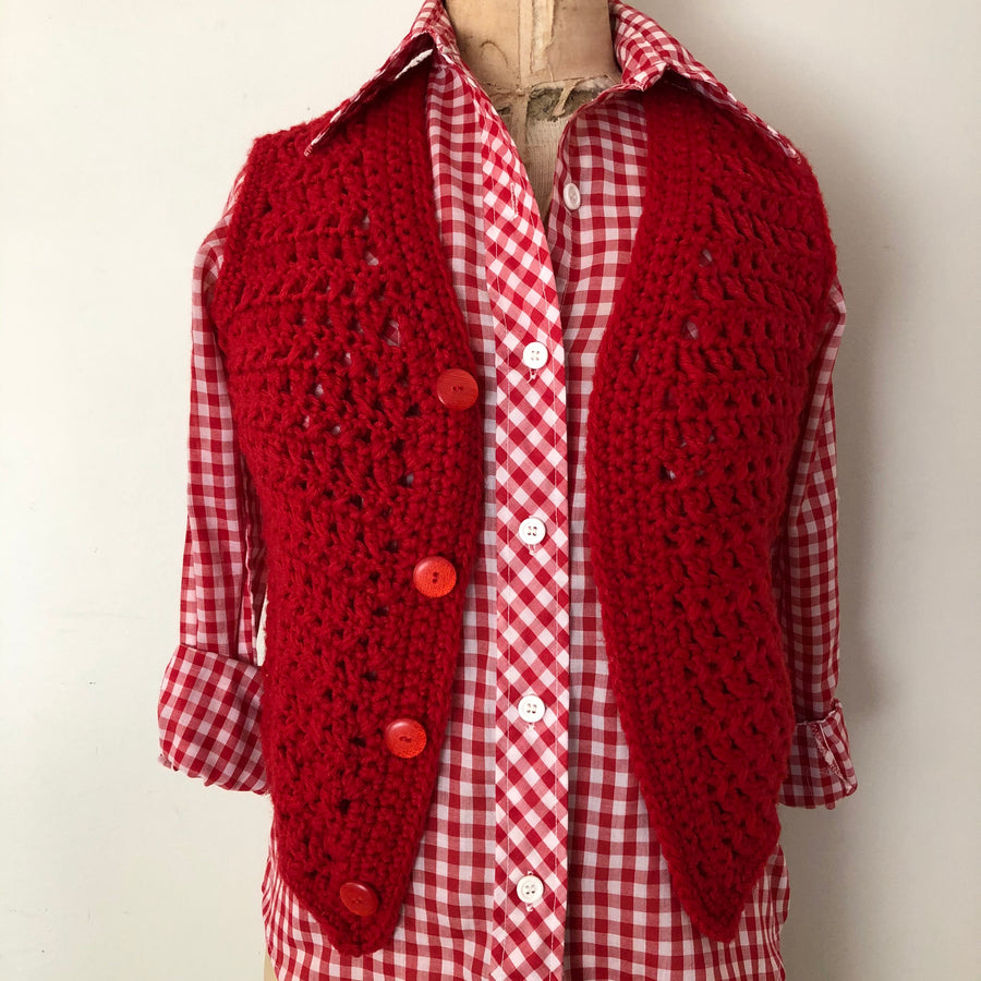 1970's Red Crochet Sweater Vest - Size XS/S