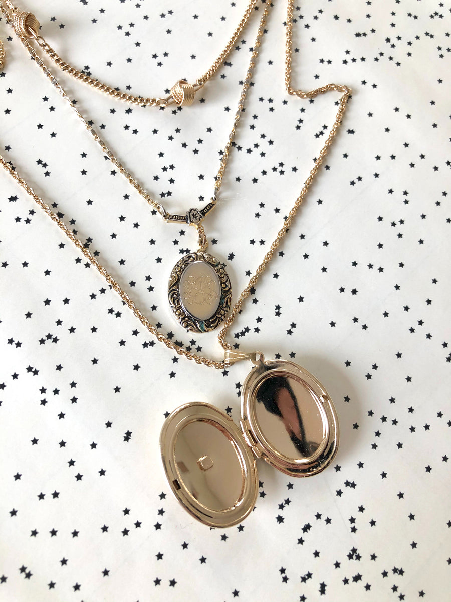 Trio of Gold Tone Layered Necklace - Locket