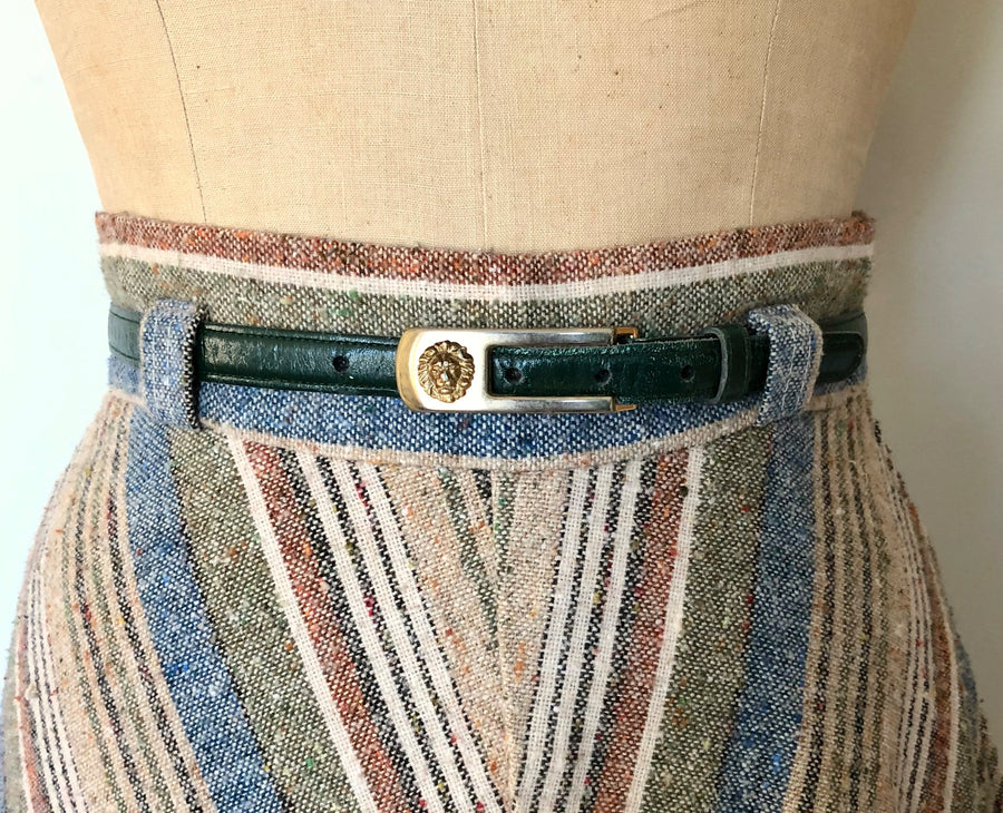 Vintage Anne Klein Green Skinny Leather Belt - 25-28