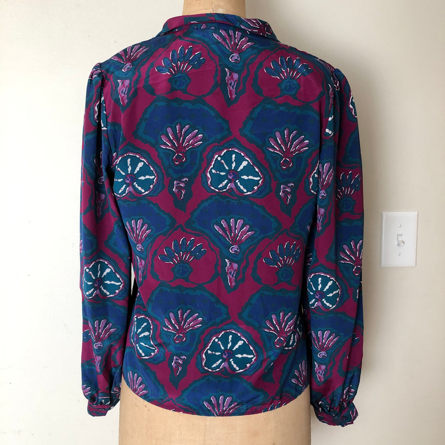 Vintage 80's Abstract Print Blouse - Size M