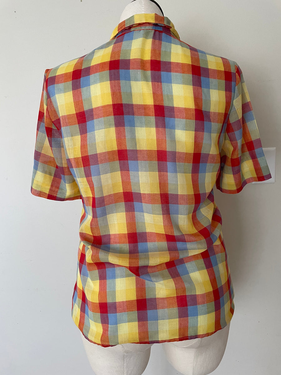70's Rainbow Plaid Blouse - Size L/XL