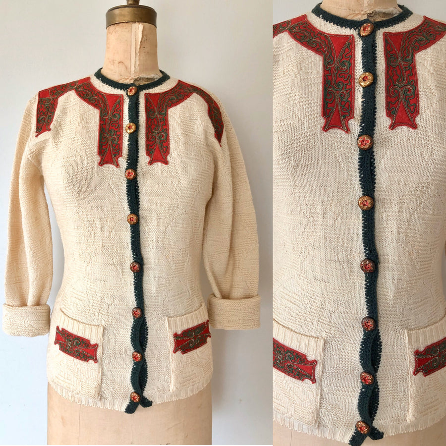 1940's/50's Wool Knit Holiday Cardigan - Size M