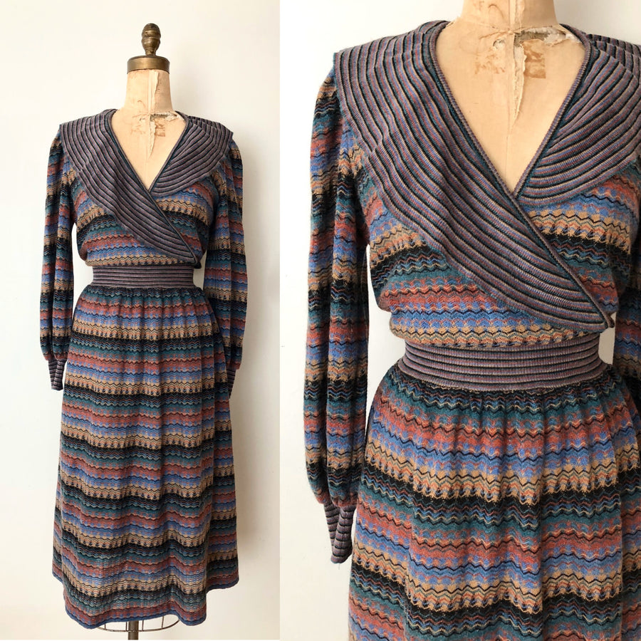 70's 80's Striped Knit Dress - Size M