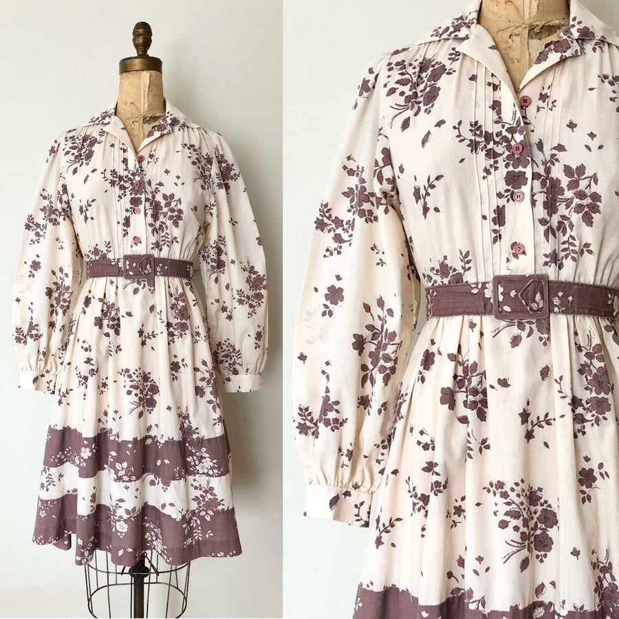 1970's Cotton Floral Dress - Size Small