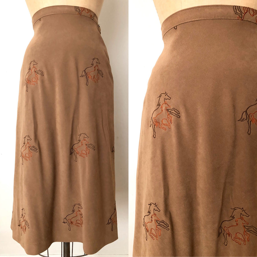 Vintage Embroidered Horse Skirt - 29/30