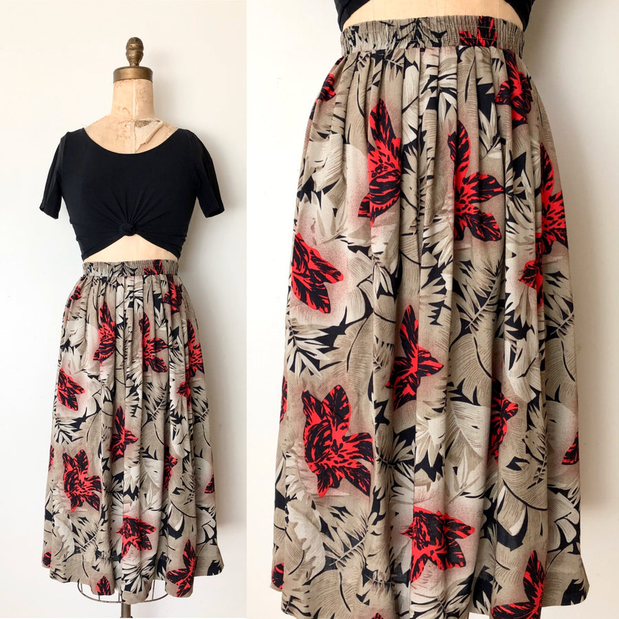 Vintage Rayon Tropical Skirt - Size Small