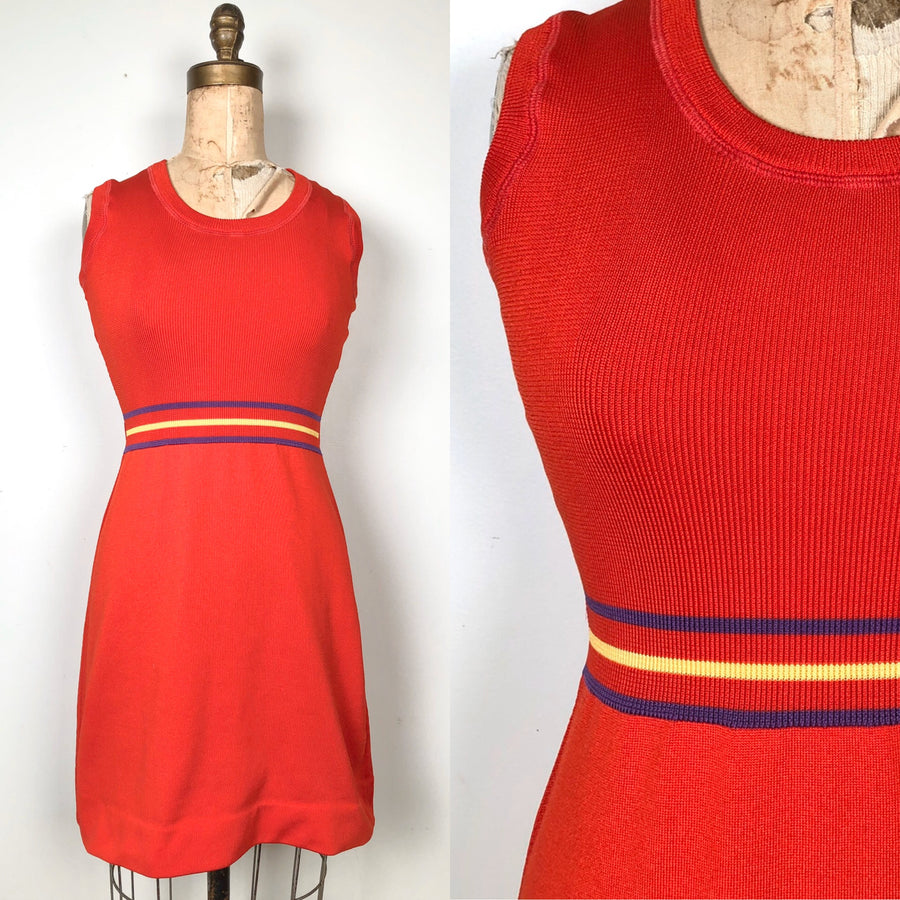 1970's Red Mini Dress - Size Small